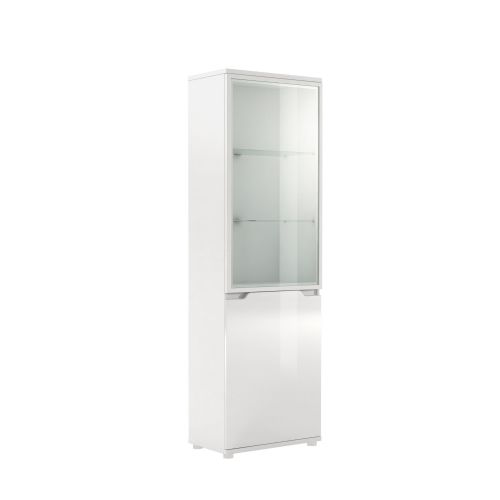 Aspen Tall Display Unit High Gloss White front - 2586